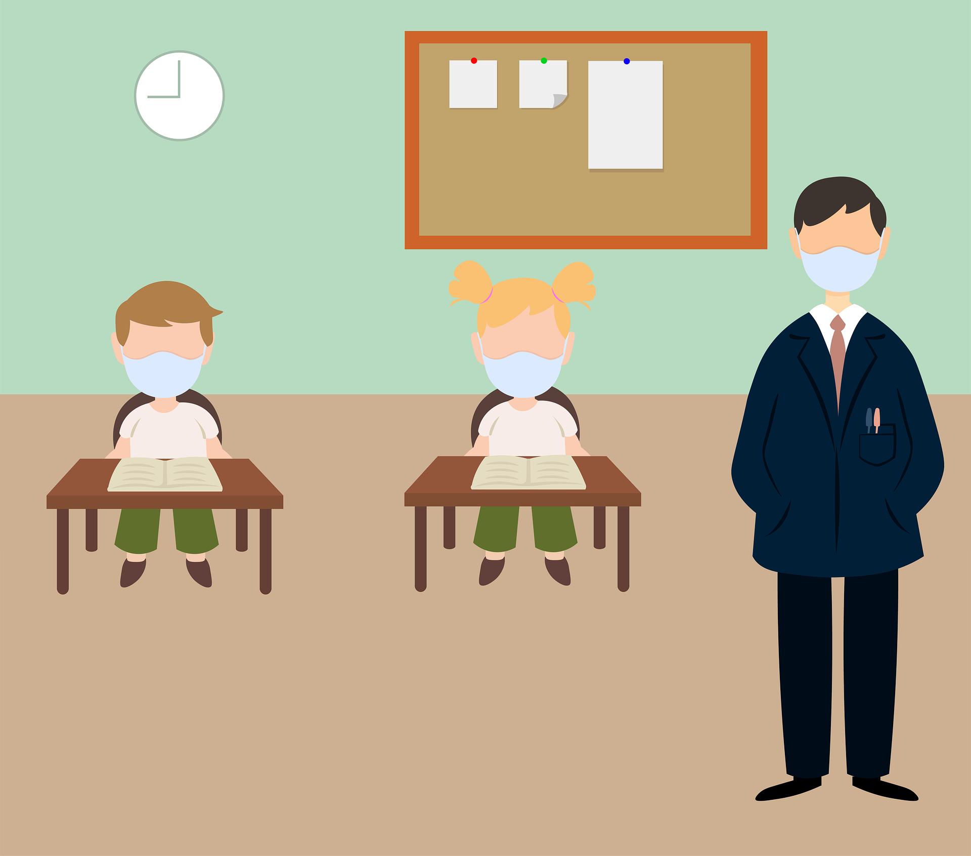 Covid Teacher - man teaching during covid